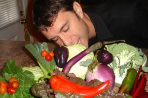 just how I like my man...in the kitchen with a big pile of veggies!