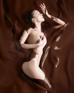 swimming in chocolate