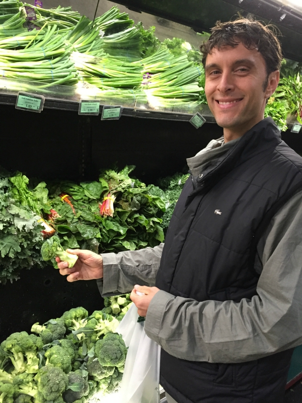 Joe enjoying the green section of our food heaven: Rainbow Grocery